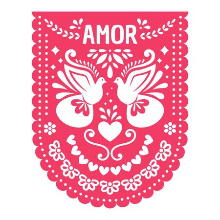Papel Picado with floral design, birds and hearts for the Mexican holiday. Fiesta wedding decoration. Иллюстрация
