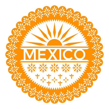 Viva Mexico. Papel Picado. Festive traditional paper banner with decorative ornament.