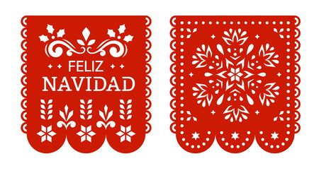 Feliz Navidad Papel Picado banners, Mexican Christmas decorations.