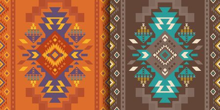 Aztec, Navajo geometric seamless patterns. Native American Southwest prints. Ethnic design wallpaper, fabric, cover, textile, rug, blanket.