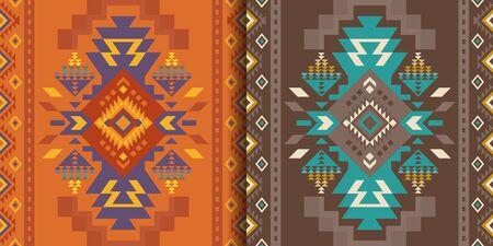 Patrones inconsútiles geométricos aztecas, navajos. Impresiones del sudoeste de los nativos americanos. Papel pintado de diseño étnico, tela, funda, textil, alfombra, manta. Ilustración de vector