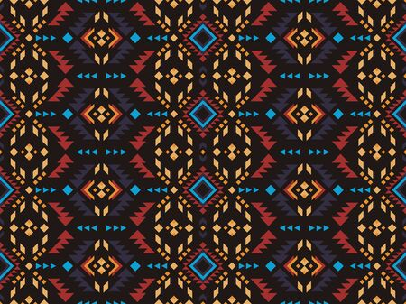 Aztec, Navajo, African geometric seamless pattern. Native American Southwest print. Ethnic design wallpaper, fabric, cover, textile, rug, blanket.