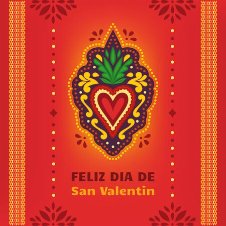 Happy Valentines Day, Feliz Dia de San Valentin. Corazon Mexicano. Fiesta banner, card, invitation.