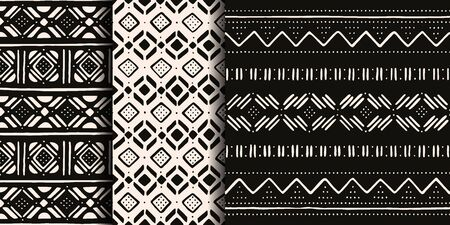 Set of white and black tribal patterns. Traditional Malian cloth with geometric ornament. Иллюстрация