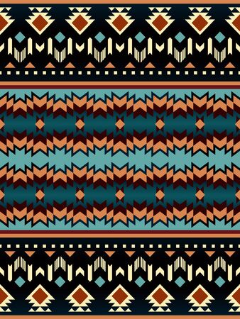Aztec, Navajo geometric seamless pattern. Native American Southwest print. Ethnic design wallpaper, fabric, cover, textile, rug, blanket. 矢量图像