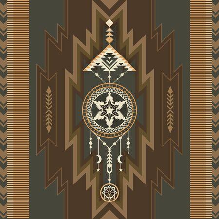 Native American Dream Catcher. Ethnic print. Geometric design of wallpaper, fabric, cover, textile, rug, blanket. 向量圖像