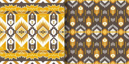 Set of Aztec geometric seamless patterns. Native American Southwest prints. Ethnic design wallpaper, fabric, cover, textile, rug, blanket. 向量圖像