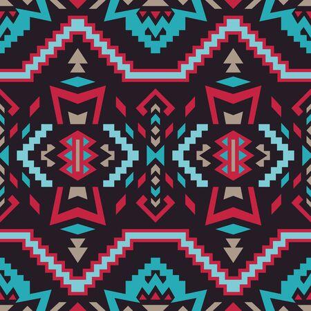 Aztec, Navajo geometric seamless pattern. Native American Southwest print. Ethnic design wallpaper, fabric, cover, textile, rug, blanket. Ilustración de vector