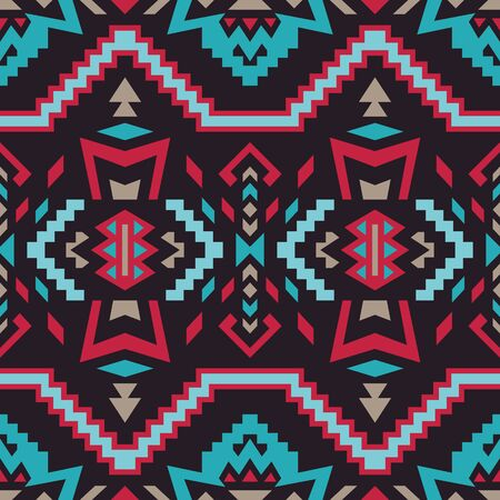 Aztec, Navajo geometric seamless pattern. Native American Southwest print. Ethnic design wallpaper, fabric, cover, textile, rug, blanket. 向量圖像
