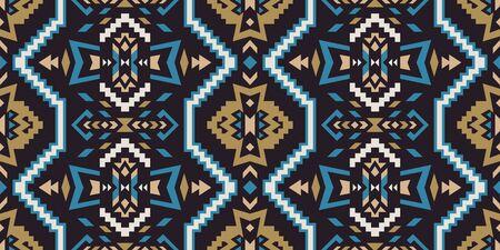 Aztec, Navajo geometric seamless pattern. Native American Southwest print. Ethnic design wallpaper, fabric, cover, textile, rug, blanket. 向量圖像