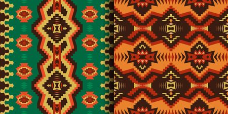 Aztec, Navajo geometric seamless patterns. Native American Southwest prints. Ethnic design wallpaper, fabric, cover, textile, rug, blanket.