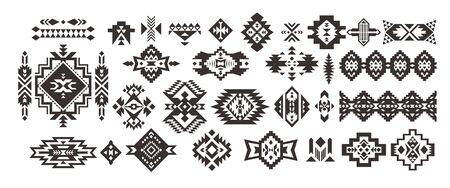 Set of Tribal decorative elements isolated on white background. Ethnic collection. Aztec geometric ornament. Ilustracja