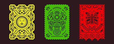 Set of Papel Picado banners. Mexican garlands, fiesta party supplies, party decorations, destination wedding decor.