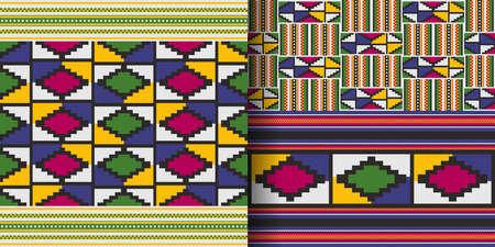 Set of ethnic seamless patterns. African Kente cloth. Tribal geometric print. 向量圖像