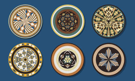 Set of African baskets. Ethnic geometric round ornament pattern. Collection of mandalas in tribal style. Design baskets from Botswana. 向量圖像