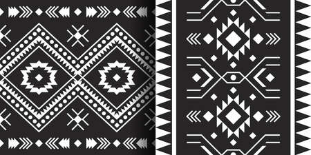 Set of Mexican seamless patterns. Aztec, Navajo geometric print. Ethnic design wallpaper, fabric, cover, textile, rug, blanket. 向量圖像