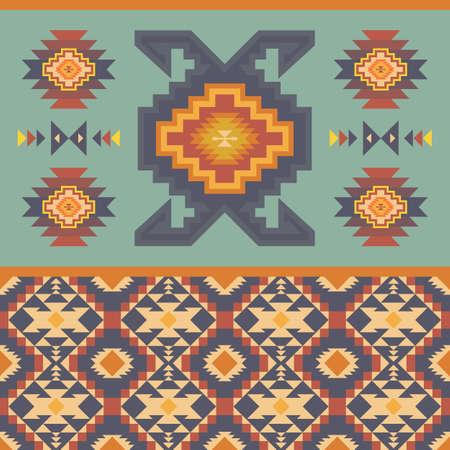 Native American Southwest, Aztec, Navajo seamless pattern. Tribal geometric print. Ethnic design wallpaper, fabric, cover, textile, rug, blanket.