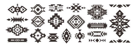 Set of Tribal decorative elements isolated on white background. Ethnic collection. Aztec geometric ornament. 向量圖像