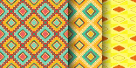 Set of ethnic prints. African Kente cloth. Tribal geometric design.