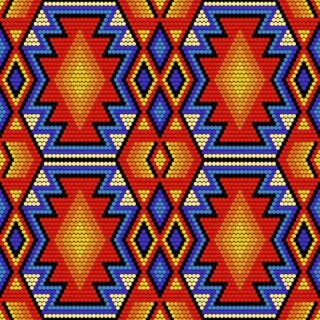 Tribal geometric ornament with Mexican Huichol art style. Native American beading. Ethnic seamless pattern.