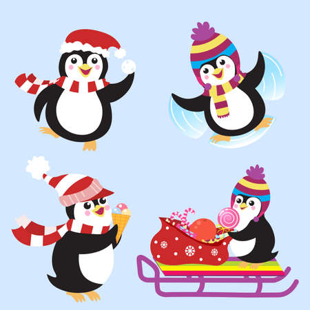 Funny Christmas penguins with winter hats set. Cartoon vector images. Winter activities. Isolated on light background Standard-Bild - 134737072