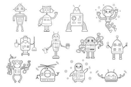 Aperçu de la page de coloriage des robots de dessin animé. Vecteur défini sur fond blanc. Livre de coloriage pour les enfants.