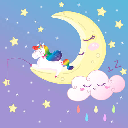 Cute magical rainbow unicorn on the moon catching stars. Cartoon vector print decoration for kids
