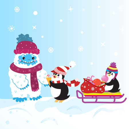Cute snow yeti and two penguins with sweet gifts on sledge vector image. With winter clothes.  Çizim