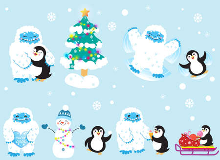 Cute snow yeti and his friend penguin celebrating Christmas and New Year vector set. Isolated on light background.
