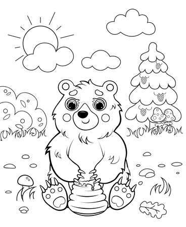 Coloring page outline of cartoon bear with honey. Vector image with forest background. Coloring book of forest wild animals for kids. 向量圖像