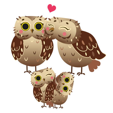Cute cartoon owl family vector image. Male and female owls with their owlets. Forest animals for kids. Isolated on white background.