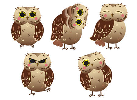 Cute cartoon owl vector set. Funny little forest owl in different postures. Forest animals for kids. Isolated on white background.