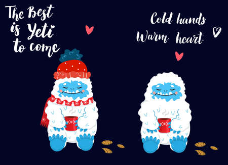Cute and cozy snow yeti drinking coffee or tea with cookies vector set. The Best is Yeti to come. Happy cartoon yeti with red winter hat and scarf. Winter holidays and activities.