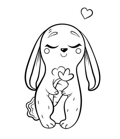 Coloring page outline of cute cartoon hare. with carrot. Vector image isolated on white background. Coloring book of forest wild animals for kids.