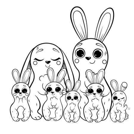 Cute cartoon hare family vector coloring page outline. Male and female hares with their leverets. Happy bunnies. Coloring book of forest animals for kids. Isolated on white background. Vector Illustration