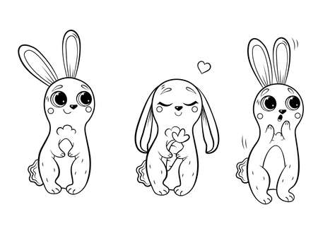 Coloring page outline of cute cartoon hares. Rabbit in different postures. Vector set. Coloring book of forest animals for kids. Isolated on white background. Vector Illustration