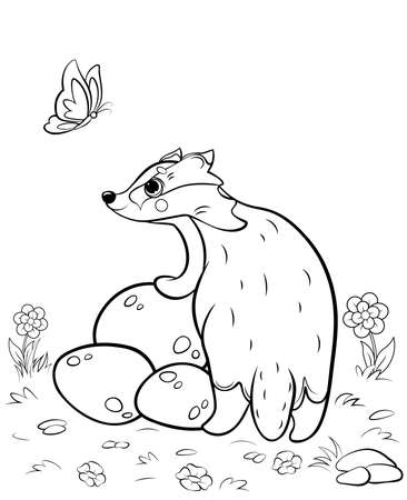 Coloring page outline of cute cartoon badger. Vector image with nature background. Coloring book of forest wild animals for kids.