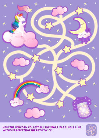 Help the Rainbow Unicorn collect all the stars in a single line without repeating the path twice. Color maze or labyrinth game for preschool kids. Puzzle. Tangled road with answer or key.