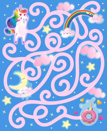 Help the rainbow unicorn find the way to the yummy donut. Color maze or labyrinth game for preschool kids. Puzzle. Tangled road.