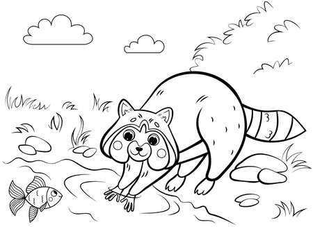 outline of cute cartoon raccoon rinsing . Vector image with nature background. forest wild animals for kids.