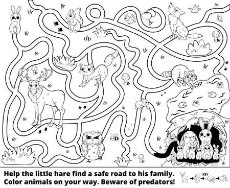 Help the little hare find a safe road to his family. Color animals on your way. Beware of predators! Printable maze or labyrinth game for children. Puzzle. Tangled road. Black and white for coloring. Illustration