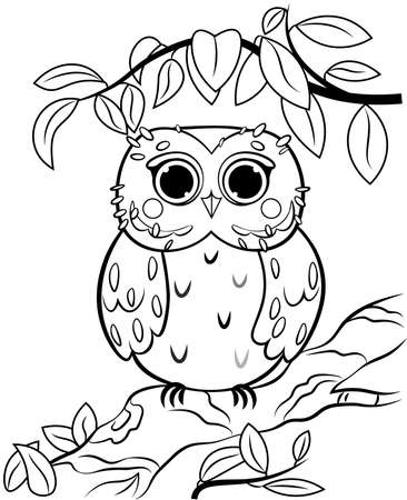 Printable coloring page outline of cute cartoon owl on a tree branch. Vector image with nature background. Coloring book of forest wild animals for kids. Illustration