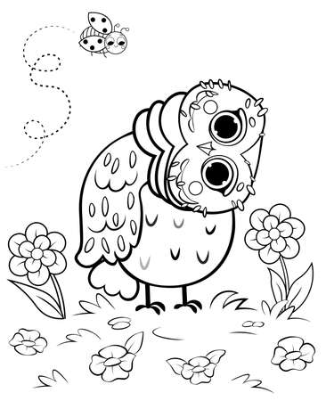Printable coloring page outline of cute cartoon owl in the clearing with flowers and ladybug. Vector image with forest background.  Coloring book of forest wild animals for kids. Illustration