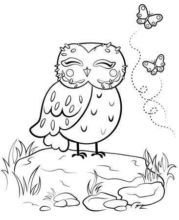 Printable coloring page outline of cute cartoon owl on stone with butterflies. Vector image with forest background. Coloring book of forest wild animals for kids.