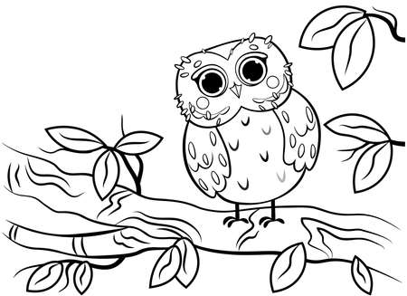 Printable coloring page outline of cute cartoon owl sitting on a tree branch. Vector image. Coloring book of forest wild animals for kids
