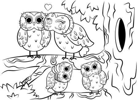Printable coloring page outline of cute cartoon owl family sitting on tree near the hollow. Vector image. Coloring book of forest wild animals for kids