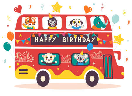Happy Birthday red double decker celebration bus with cute animals. Cartoon vector illustration isolated on white background. Vector Illustratie
