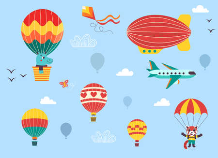 Funny kids air transport set with little animals. Hot air balloon, airship, airplane and parachutist cartoon vector illustration isolated on blue background