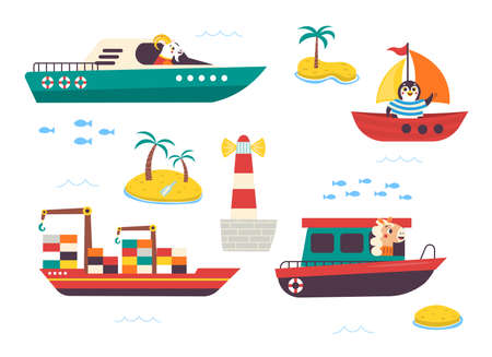 Funny kids water transport set with little animals. Boat, yacht, sailboat, motorboat, container ship and lighthouse cartoon vector illustration isolated on white background
