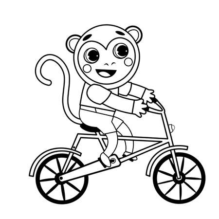 Coloring page outline of cartoon monkey on bicycle. Vector image on white background. Coloring book of transport for kids. 向量圖像